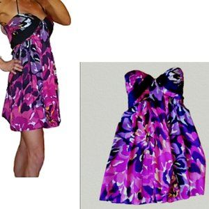 BEBE STRAPLESS FIT & FLARE FLORAL SILK DRESS